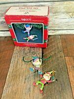 VTG Enesco Christmas Tree Elves Ornament TWINKLE & SPRINKLE Wee Tree Trimmers