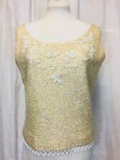 Vintage 1950's Sequin Bombshell Beaded Top. Wool. Small. Mint. Ivory.