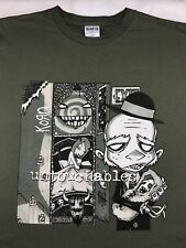 Mens 2002 L KORN Untouchables Concert World Tour Nu Metal Graphic Green T-Shirt