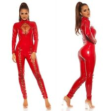 KouCla Latex Jumpsuit Halloween Catsuit Costume Wet Look Overall with Front Lace