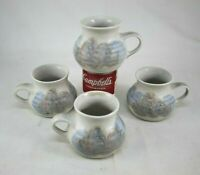 Set of 4 Studio Art Pottery White & Light Blue Gray Small Cups Mugs Signed KS