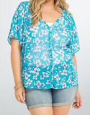 Torrid Floral Chiffon Button Front Top Size 1 14 16 1X #08986