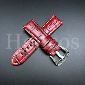 24/22MM COW LEATHER PAM WATCH BAND STRAP FOR 44MM PANERAI GMT LUMINOR RED