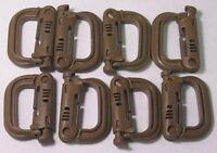 Grimloc, D-Ring Carabiner Coyote Brown MOLLE II,  FLC (set of Eight 8) ITW Nexus