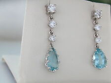Aquamarine & Diamond Drop Earrings. 18ct. Articulated. Pear-Cut Aqua. Report