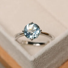 2.00 Ct Round Cut Aquamarine Gemstone Engagement Ring 14K White Gold Size M N O
