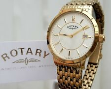 Mens Rotary watch Gold plated Slim Champagne dial RRP £230 Boxed (r130)