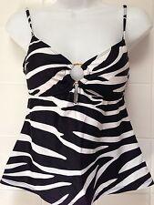 Ralph Lauren Swim Size 8 Tankini Top Animal Print Zebra Black & White Gold Ring