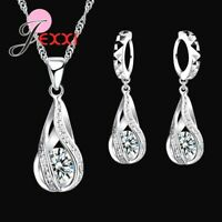 925 Sterling Silver Cubic Zirconia Crystal Pendant Necklace and Earring Set *UK*