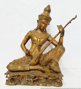 Large Heavy Vintage Gilt Bronze Thai Buddha Bodhisattva Deity Statue