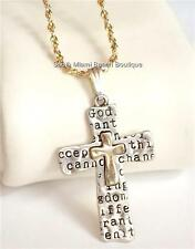 "Silver Gold Serenity Prayer Cross Necklace 24"" Plus Size AA Al-Anon NA Plated"