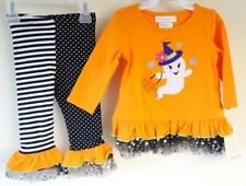 New  Bonnie Baby Ghost With Witch Hat Halloween Outfit Girl's Size 12M