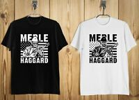 New Merle Haggard Country Music Logo Men's T-Shirt Black and White b