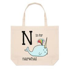 Letter N Is For Narwhal Large Beach Tote Bag - Alphabet Cute Funny Shoulder