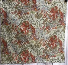 Pottery Barn Euro Pillow Sham Floral Paisley 100% Cotton Blues Olive Orange