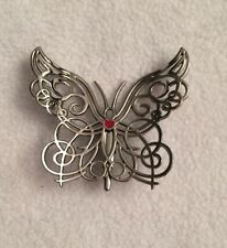 Neiman Marcus Silver Whimsical Butterfly Clip W/ Red Heart, Brooch, Ornament New