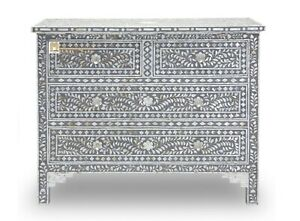 Chest of 4 drawers mother of pearl inlay Floral Design in Grey Color Home Decor