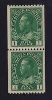 Canada Sc #131 (1915-24) 1c dark green Admiral Coil Pair Mint VF NH MNH