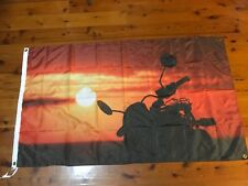 Sunset Harley Davidson biker 5x3 ft Mancave pool room flags shed wall hanging