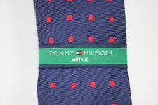 NWT TOMMY HILFIGER Men's Navy Blue/Red Polka Dot Wool/Silk VINTAGE Skinny Tie