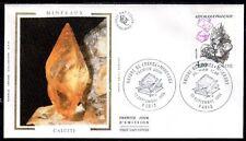 FRANCE FDC - 2431 1 MINERAUX CALCITE - 13 Septembre 1986 - LUXE sur soie