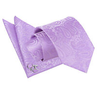 Mens Tie Hanky Cufflinks Set Floral Paisley Lilac Classic Skinny by DQT