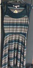 Max Studio Blue Engineered Striped Sleeveless Knee-Length Dress M Lightweight