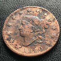 1820 Large Cent Coronet Head One Cent 1c High Grade XF Details #14547