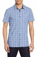 Vince Camuto Mens Shirt Blue Medium M Plaid Check Slim Fit Button Down $95 020