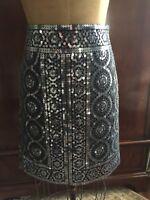 Tory Burch size 6 Black / Silver Sequin Skirt EUC!