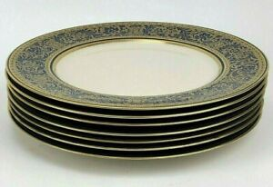 "Set of 7 Franciscan Masterpiece China Royal Renaissance 10-5/8"" Dinner Plates"