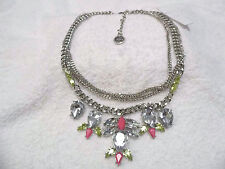 Jessica Simpson Silver/Pink/Yellow-Green Stone Necklace