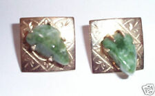 Coro Vintage Gold Earrings Jade Green Natural Stone Agate Nugget Square Clip On