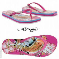 Ed Hardy Cancun Fuschia Fashion Sandals Beach Pool Stylish Flip-Flops US 5 NIB -
