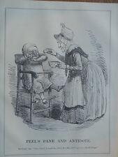 "7x10"" PUNCH cartoon 1845 PEEL`S BANE & ANTIDOTE robert peel / income tax"
