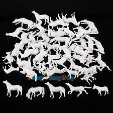50pcs 1:87 UnPainted White Farm Animals Horses Different Poses HO Scale