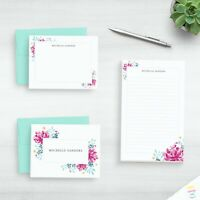 Watercolor Floral Stationery Personalized Writing Paper Set Pretty Stationary