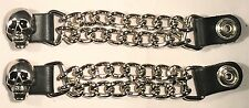 2 SKULL DOUBLE MOTORCYCLE BIKER MC CLUB CHAIN VEST EXTENDERS MADE IN USA