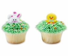 12 Chick And Bunny Easter Cupcake Rings Party Favors Cake Topper