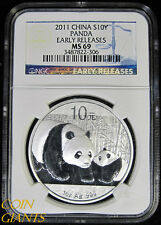 2012 China 10 YUAN NGC MS69 Panda Early Releases ER Silver Bullion Coin S10Y