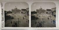 Roma Place Saint-Pierre Vaticano Italia Fotografia Stereo Vintage Analogica