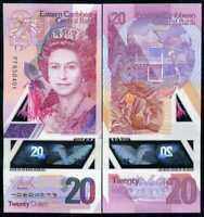 EAST CARIBBEAN 20 DOLLARS 2019 P NEW DESIGN POLYMER QE II UNC