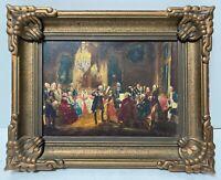 ADOLPH MENZEL The Flute Concert Antique Copy German Realism Signed Original Oil