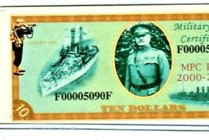 """$10 """"00005090"""" (LOW SERIAL) """"MILITARY FEST PAYMENT CERTIFICATE"""" $10 NOTE CRISPY!"""