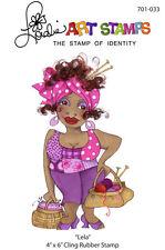 "Loralie Art Stamp - 701033 Lela Knitting Lady - 4"" x 6"" Cling Rubber Sheet"