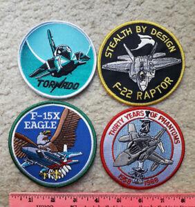 4 air force patches : US & NATO : F-22 Raptor, F-4 Phantom, Tornado & F-15 Eagle