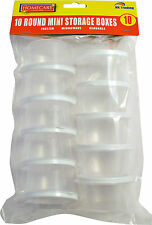 10 x CLEAR PLASTIC MINI STORAGE BOXES FOOD FREEZER LEFTOVER CONTAINER BABY ROUND