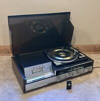 Zenith Allegro F-589W 8-Track 33/45/78 Record Player Radio Vintage Wood Grain