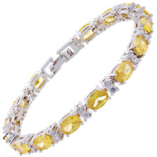 Oval Yellow Citrine Zirconia CZ Tennis Bracelet White Gold Filled Gift 7""