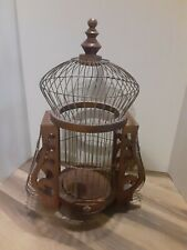 Vintage Bird Cage Wood Victorian Dome Cathedral Wooden House